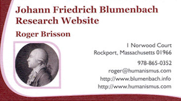 Amerikanisches Internet-Portal - Johann Friedrich Blumenbach Research Website - Roger Brisson